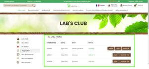 Rubrique mes achats Lab's Club