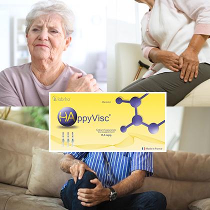 Happyvisc, Acide hyaluronique arthrose genou, hanche, cheville, épaule